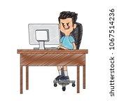 idle boy using computer scribble | Shutterstock .eps vector #1067514236