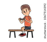 boy playing with smartphone... | Shutterstock .eps vector #1067514392