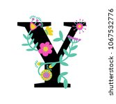 floral letter y. serif.... | Shutterstock .eps vector #1067532776