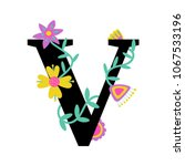 floral letter v. serif.... | Shutterstock .eps vector #1067533196