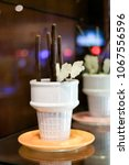 chocolate and sugar sticks in a ... | Shutterstock . vector #1067556596