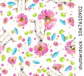 watercolor natural seamless... | Shutterstock . vector #1067610902