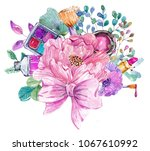 cosmetic watercolor collection... | Shutterstock . vector #1067610992