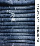 lot of different blue jeans ... | Shutterstock . vector #1067634698
