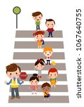 boys and girls crossing | Shutterstock .eps vector #1067640755