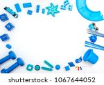 top view of colorful kids toys... | Shutterstock . vector #1067644052
