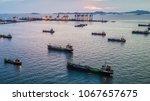 aerial view tanker ship park in ... | Shutterstock . vector #1067657675