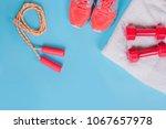 sneakers  dumbbells fitness and ... | Shutterstock . vector #1067657978