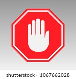 stop sign with hand | Shutterstock .eps vector #1067662028