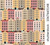 european houses. seamless... | Shutterstock .eps vector #1067665148