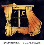 window curtains blown by the... | Shutterstock .eps vector #1067669606