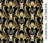gold baroque seamless pattern.... | Shutterstock .eps vector #1067686166