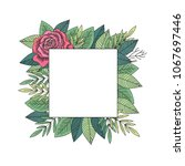red rose and green leaves frame ...   Shutterstock . vector #1067697446