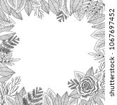 black and white border rose and ...   Shutterstock . vector #1067697452