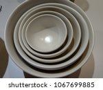 white circle plates on desk | Shutterstock . vector #1067699885