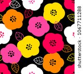 colourful cute floral seamless... | Shutterstock .eps vector #1067711288