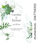 wedding invitation with foliage   Shutterstock .eps vector #1067734202