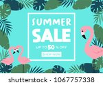 summer sale banner with... | Shutterstock .eps vector #1067757338