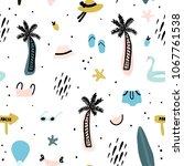 seamless pattern with summer... | Shutterstock .eps vector #1067761538