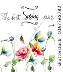spring flowers with title the... | Shutterstock . vector #1067763782