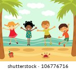 happy kids jumping at the beach | Shutterstock .eps vector #106776716
