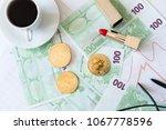 feminine desk  bitcoin and women | Shutterstock . vector #1067778596