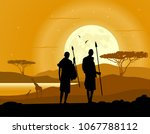 africa landscape background.... | Shutterstock .eps vector #1067788112