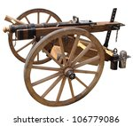 Replica of an old cannon on a white background - stock photo