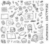 cartoon set of school objects....   Shutterstock .eps vector #1067799182