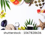 summer objects on a white... | Shutterstock . vector #1067828636