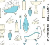 hand drawn vintage seamless... | Shutterstock .eps vector #1067832548