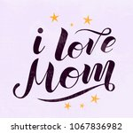 i love mom lettering on light... | Shutterstock .eps vector #1067836982