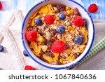 muesli breakfast menu with... | Shutterstock . vector #1067840636