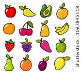 collection of fruits in cartoon ... | Shutterstock . vector #1067845118