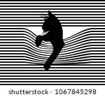 Pop Art Cat. Striped Background....