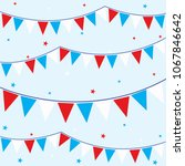 bunting flag with blue red and... | Shutterstock .eps vector #1067846642
