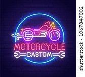 customs motorcycle neon sign ...   Shutterstock .eps vector #1067847002