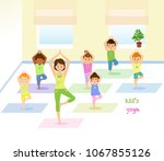 Children do yoga with a yoga instructor in studio..Isolated on white background. Vector illusrtation