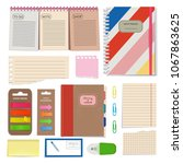 diary  blank papers  notepad... | Shutterstock . vector #1067863625
