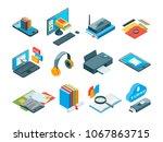 isometric symbols of online... | Shutterstock . vector #1067863715