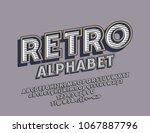 vector retro alphabet. rotated... | Shutterstock .eps vector #1067887796