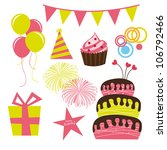 birthday elements isolated over ... | Shutterstock .eps vector #106792466