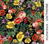 flower print pattern  | Shutterstock . vector #1067940488