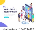 mobile app development concept ... | Shutterstock .eps vector #1067946422