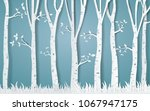 forest of winter season paper... | Shutterstock .eps vector #1067947175