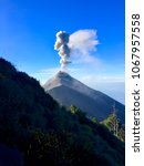 fuego volcano erupting red hot...   Shutterstock . vector #1067957558