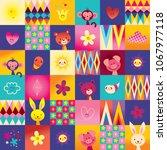 cute baby animals kids pattern   Shutterstock .eps vector #1067977118