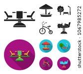carousel  sandbox  park ... | Shutterstock .eps vector #1067985272