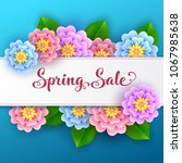floral spring sale banner with... | Shutterstock . vector #1067985638