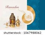 ramadan kareem greeting card...   Shutterstock . vector #1067988062